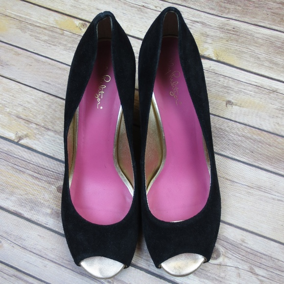 Lilly Pulitzer Shoes - Lilly Pulitzer {Black} Suede Peep Toe Wedges